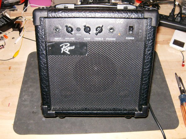 Here is the Amp in all its miniature glory. total size is 91/2 inches X 9 5/8inches and 6 inches deep. All controls are in the front panel.