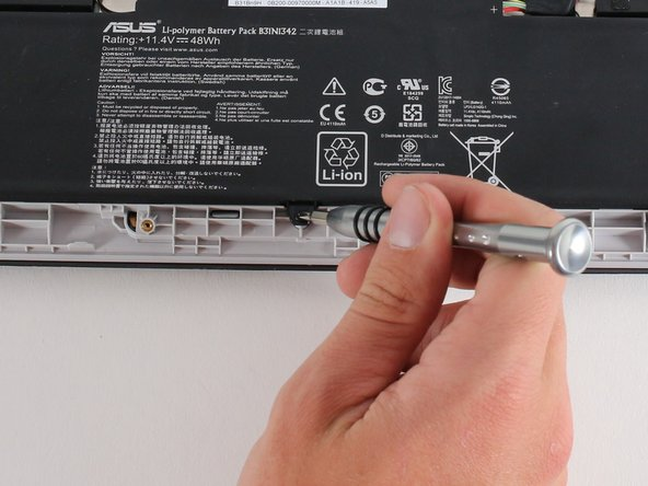 Remove the four 4.7 mm Phillips #0 screws that secure the battery to the Chromebook.