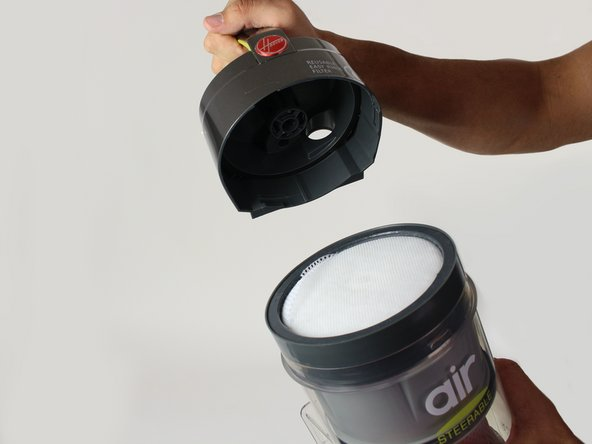 Remove the rinsable filter from the dirt cup.