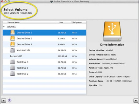 After doing that, you need to select the hard drive or the volumes from the left side display. Here you can either choose the main hard drive or the selected volume. In the past if you have deleted many files then you can select the main hard drive. Once you select a volume or the hard drive upon which the action has to be taken, hit the 'Continue'