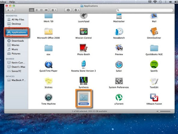 To begin the process, you will need to go to your Applications folder, which can be found in your Finder side bar.