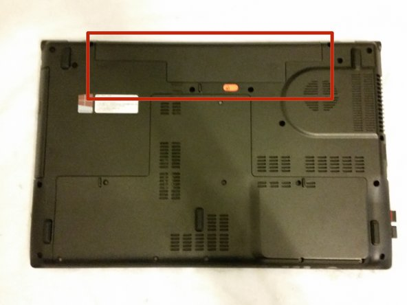 Flip the laptop over, and find the battery compartment.