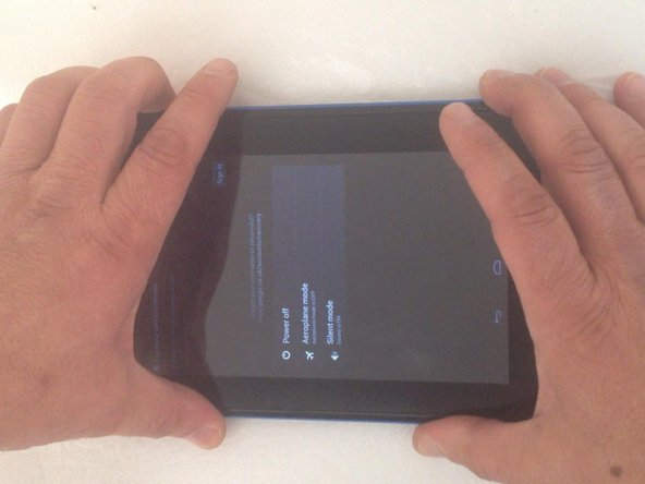 Power of the tablet. Push and hold Vol(+) and Power On keys together in the same time.