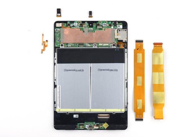 Image 1/1: The first immediately removable components are: rear- and front-facing cameras, button cable, display and daughterboard interconnect cables.