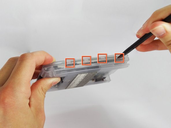 Be careful while opening the casing as there is a flex strip connecting the two halves.