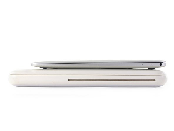 "At 1.08"" thick, the 5 pounds of polycarbonate-swathed 2009 MacBook dwarfs our 2.03 pound Retina MacBook."