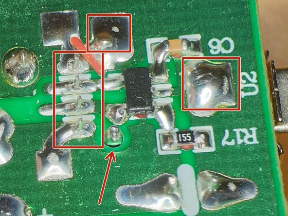 Resolder all the USB connector pins (red box'es), on all 3 USB connectors to be sure they are functional. (on this image the top one is defective)