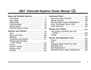 2007 Chevrolet Equinox Owner Manual