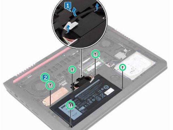 Retire los cinco tornillos (M2x5 T8) que aseguran la batería a la base de la computadora.