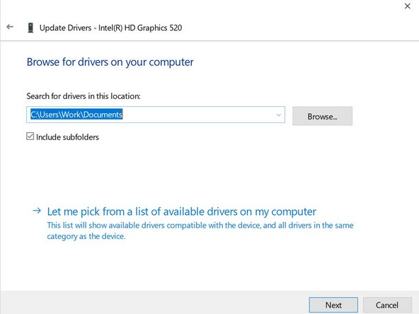 "The next step will look like this.  Click on the option near the bottom that says ""Let me pick from a list of available drivers on my computer"""