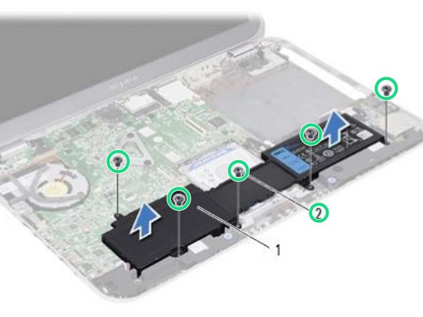 Replace the screws that secure the battery to the computer base.