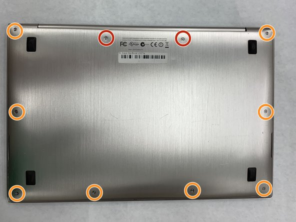 Unscrew the bottom frame cover using the T4 Torx screwdriver by removing the eight 2mm screws around the frame.