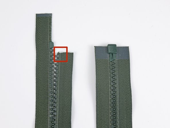 Image 1/2: Provided there is enough of the fabric around the zipper, which has been clipped in this image for visibility, you can simply replace the stop as shown in our [guide|19448|slider replacement guide].