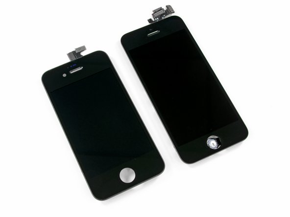 Image 2/2: A side-by-side comparison of the iPhone 4 and iPhone 5 display assemblies. The iPhone 4s has an integrated home button.
