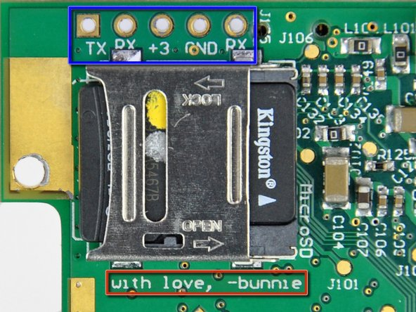 Image 3/3: A row of sockets near the MicroSD socket provide connectivity for a TTL-level 115200, 8N1 serial console.