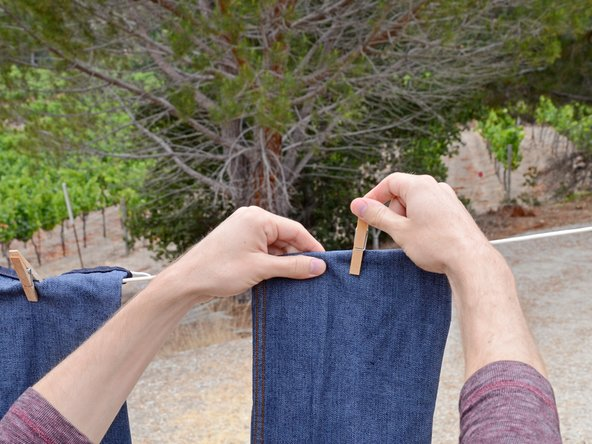 Image 2/3: To prevent your jeans from getting stiff, don't leave them out in the hot sun after they have dried. As soon as they are dry, take them down.