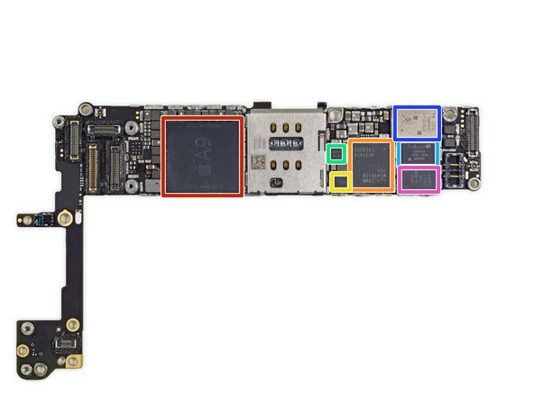Apple A9 APL0898 SoC + Samsung 2 GB LPDDR4 RAM (as denoted by the markings K3RG1G10BM-BGCH)