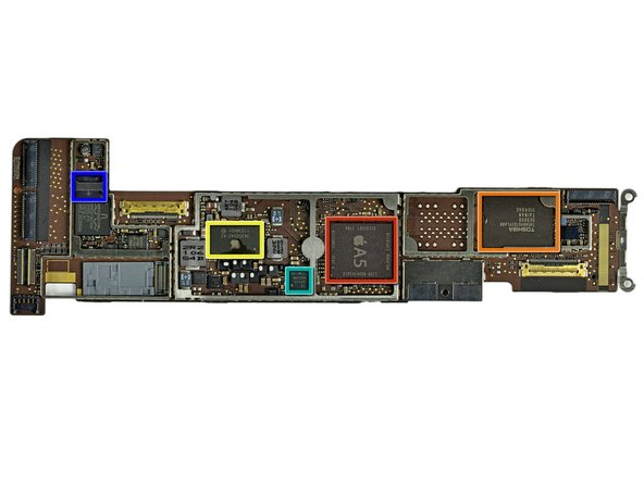 Notable chips found on the logic board (click here for mega size):