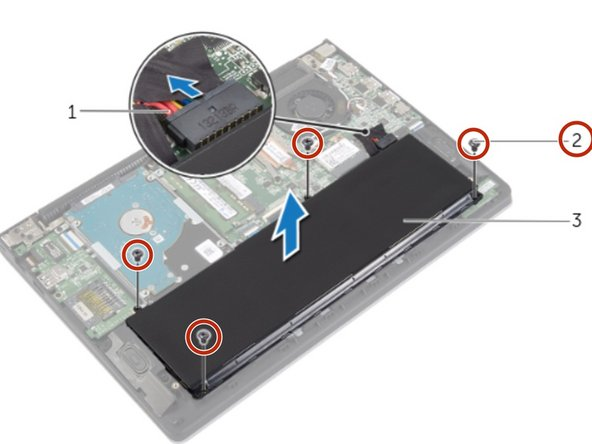 Remove the screws that secure the battery to the palm-rest assembly.