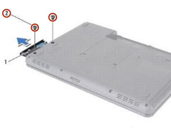 Replace the two screws that secure the hard-drive assembly to the computer base.