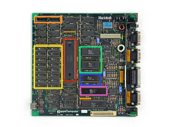 Notable ICs on the Mac 128K logic board: