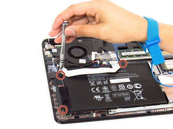 Use the Philips #0 screwdriver to remove the three 4.2mm screws that are securing the battery to the board.