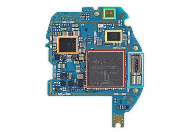SK Hynix H9TU32A4GDMC 512 MB mobile DDR2. The Qualcomm Snapdragon 400 SoC is hidden beneath this DRAM device.