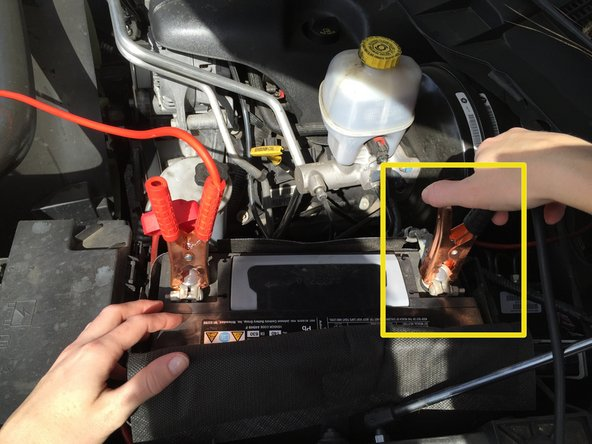 Attach the BLACK lead to the charged car's battery where the negative terminal is.