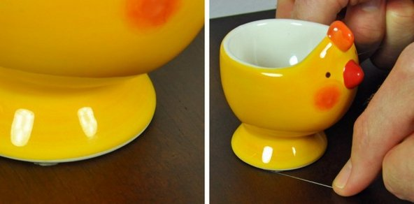 Holding an egg cup in place with museum wax