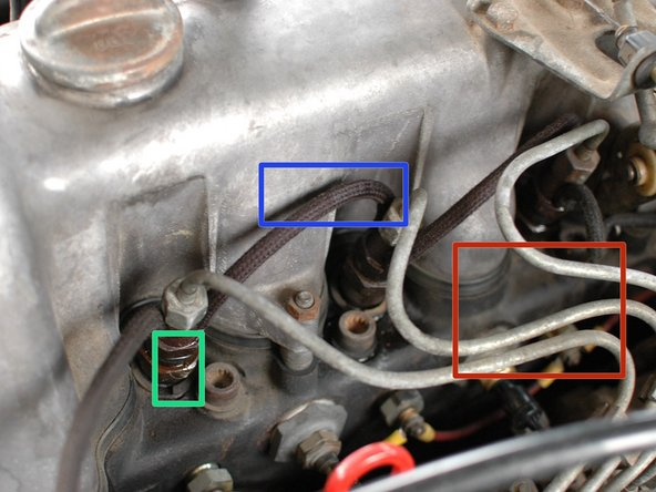 Inspect the injectors for fuel wetness. Leaks could be coming from: