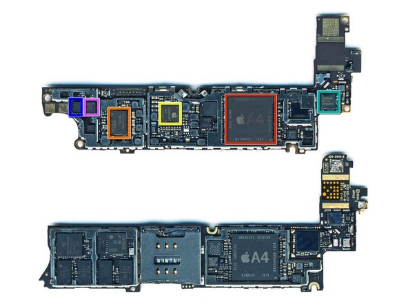 Image 1/1: The front side of the Verizon logic board (on top) contains: