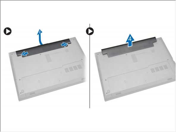Slide the release latches outwards to unlock the battery and lift the battery to remove it from the computer.
