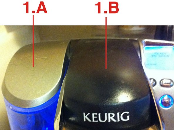 "Identifying the parts: 1.A is the water reservoir cover. 1.B is the ""Head"". The needle that punctures the K-Cup is in here."