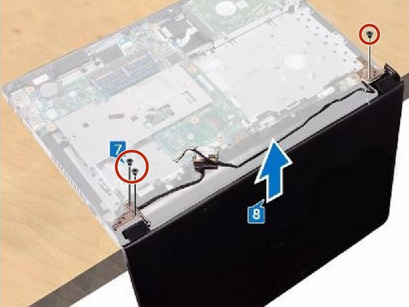 Replace the three screws (M2.5x8) that secure the display hinges to the palm-rest assembly.