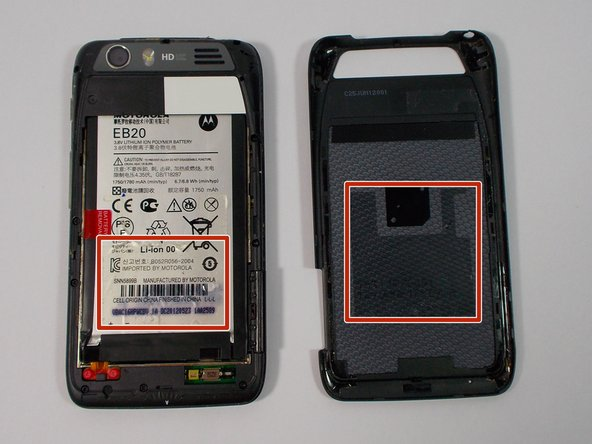 The adhesive strips are shown in the orange boxes. Be sure not to use too much force to pull off the back cover, or you may risk snapping the back cover.