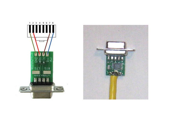 Connect the RS232 to TTL/CMOS converter. Connect the RS232 to TTL/CMOS converter to the cable and solder the connections. Note: The colors used in the wiring diagram don't correspond to the color of the actual wires.