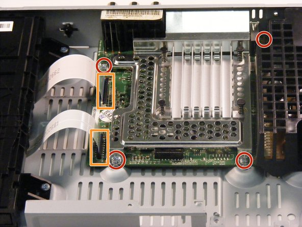 The screws securing the motherboard in are labeled with red circles and the wires are labeled with orange rectangles.