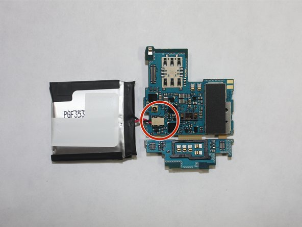 Once the motherboard and the battery are removed, disconnect the battery at the connector.