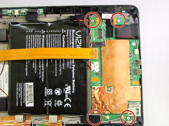 Remove the motherboard by unscrewing the four securing screws with a J1 Phillip's head screwdriver.