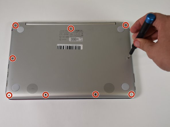 Use the T5 screwdriver to remove the nine 2.1 mm screws from the bottom of the device.