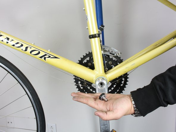 Remove the bolt from the crank arm.  The crank arm will remain in place.  Do not try to pull off the crank arm, as a special tool is required for this task.