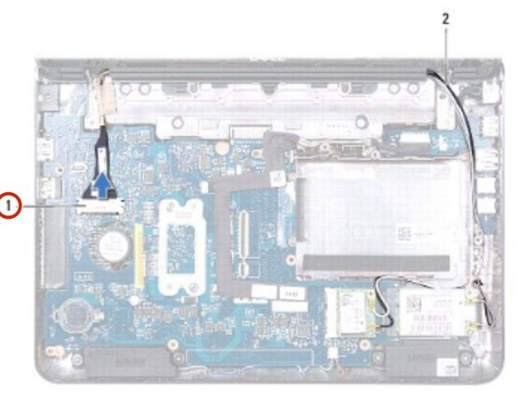 Connect the display cable to the system board connector.
