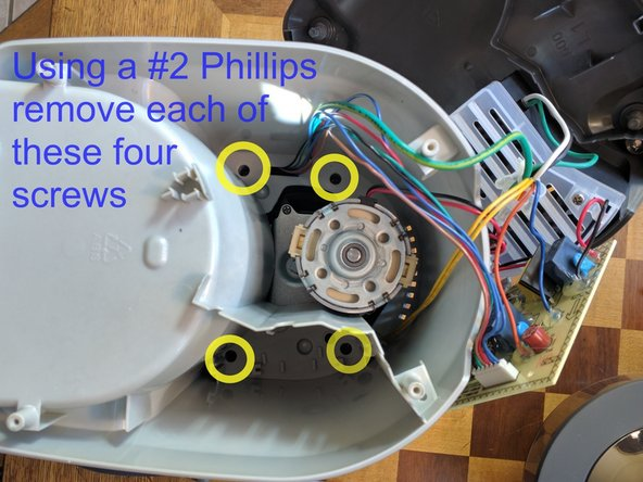 Using the long #2 Phillips Screwdriver (7 inches or more) remove the 4 inside top screws and set aside.