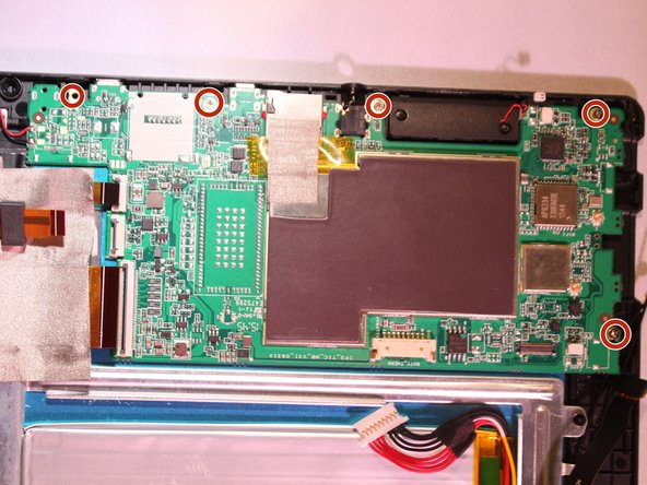 Remove 5 - 3.4 mm Phillips J000 screws from the motherboard.