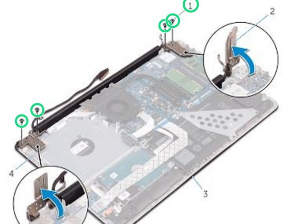 Remove the screws that secure the display hinges to the palm rest and keyboard assembly.
