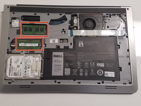 Locate the RAM sticks on the left side of the device.