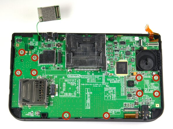Remove ten 5.5 mm screws that are located around the face of the motherboard.