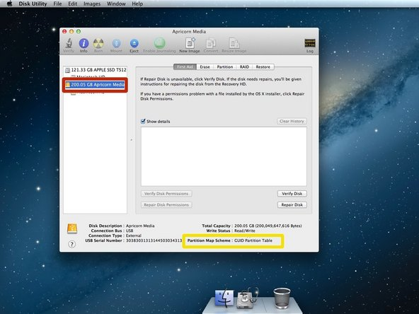 Select your new hard drive from the left column in Disk Utility.
