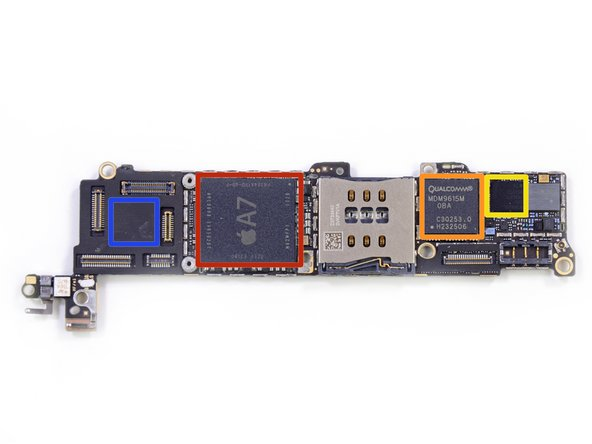Image 1/1: Apple A7 APL0698 SoC (based on this [link|http://forums.macrumors.com/showpost.php?p=17875984&postcount=31|MacRumors post|new_window=true], the markings F8164A1PD indicate the RAM is likely 1GB)