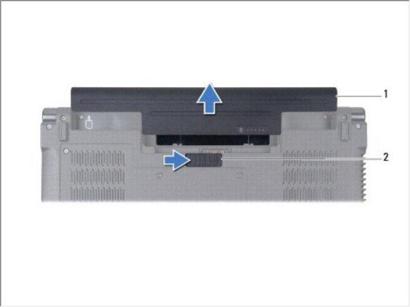 Deslice el pestillo de liberación de la batería hasta que encaje en su lugar.
